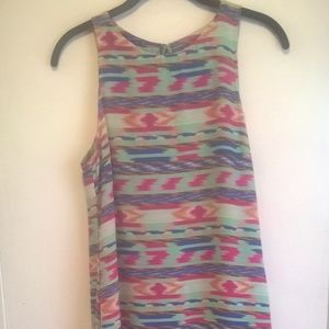 lush dress size 8 blue green high low sleeveless